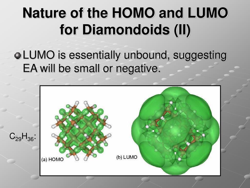 Nature of the HOMO and LUMO for Diamondoids (II)