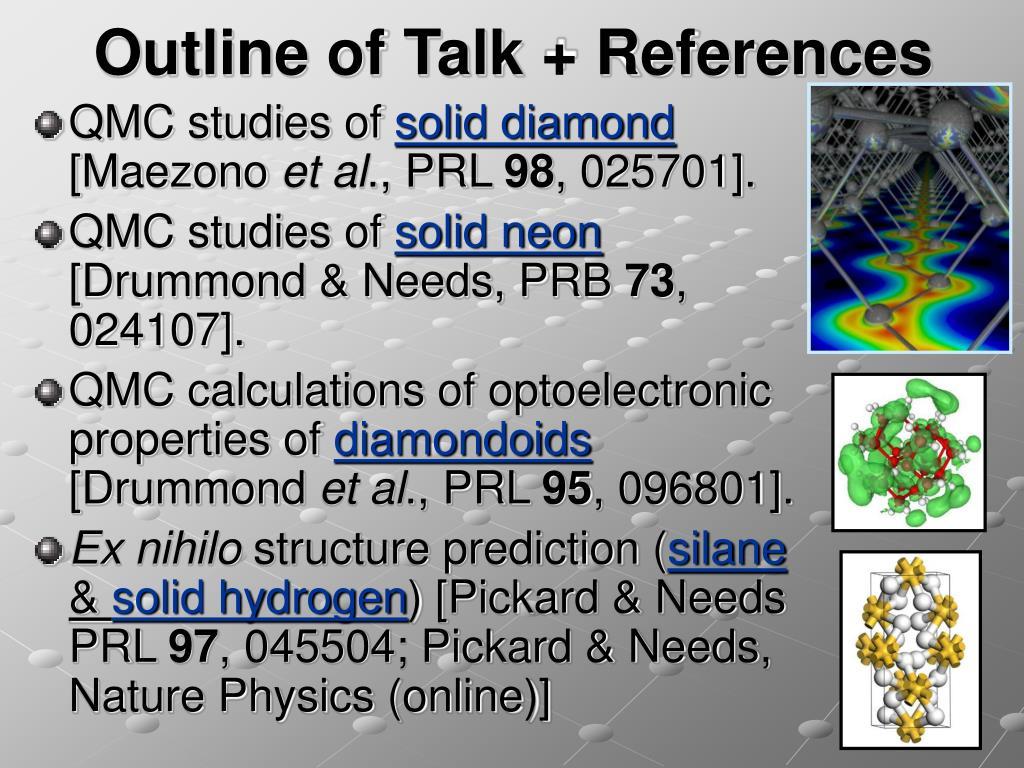 Outline of Talk + References