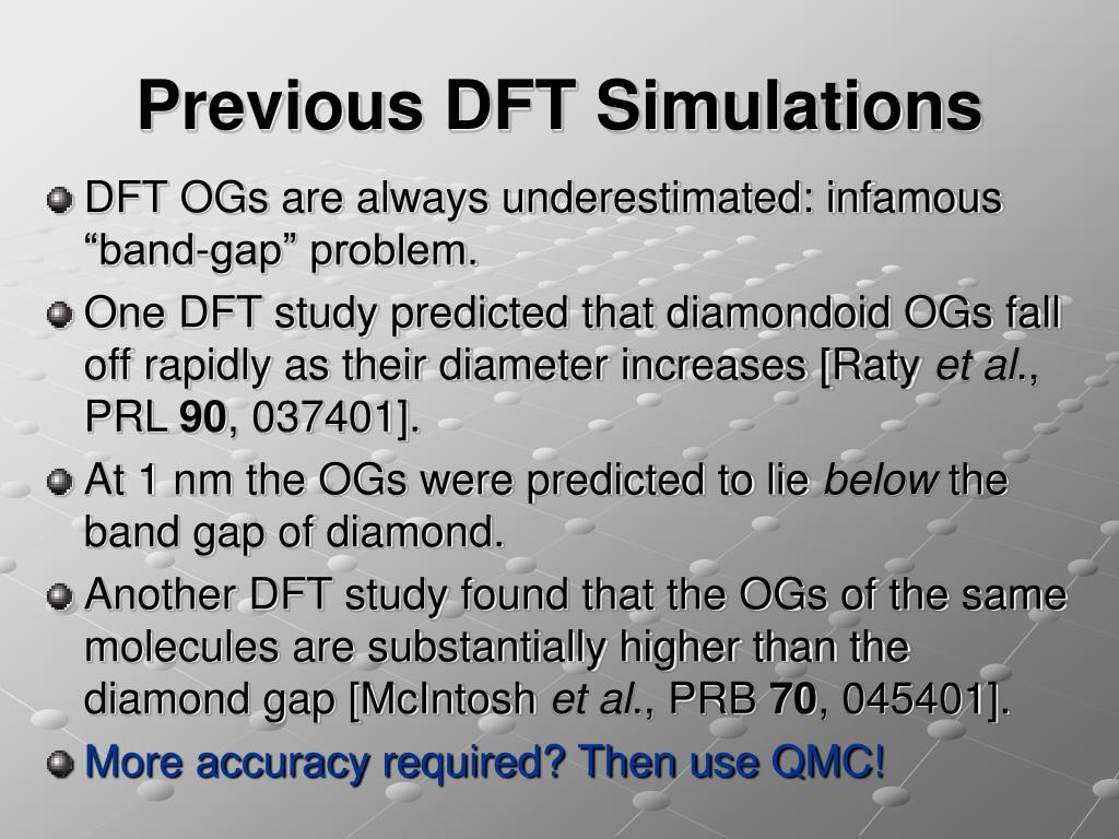 Previous DFT Simulations