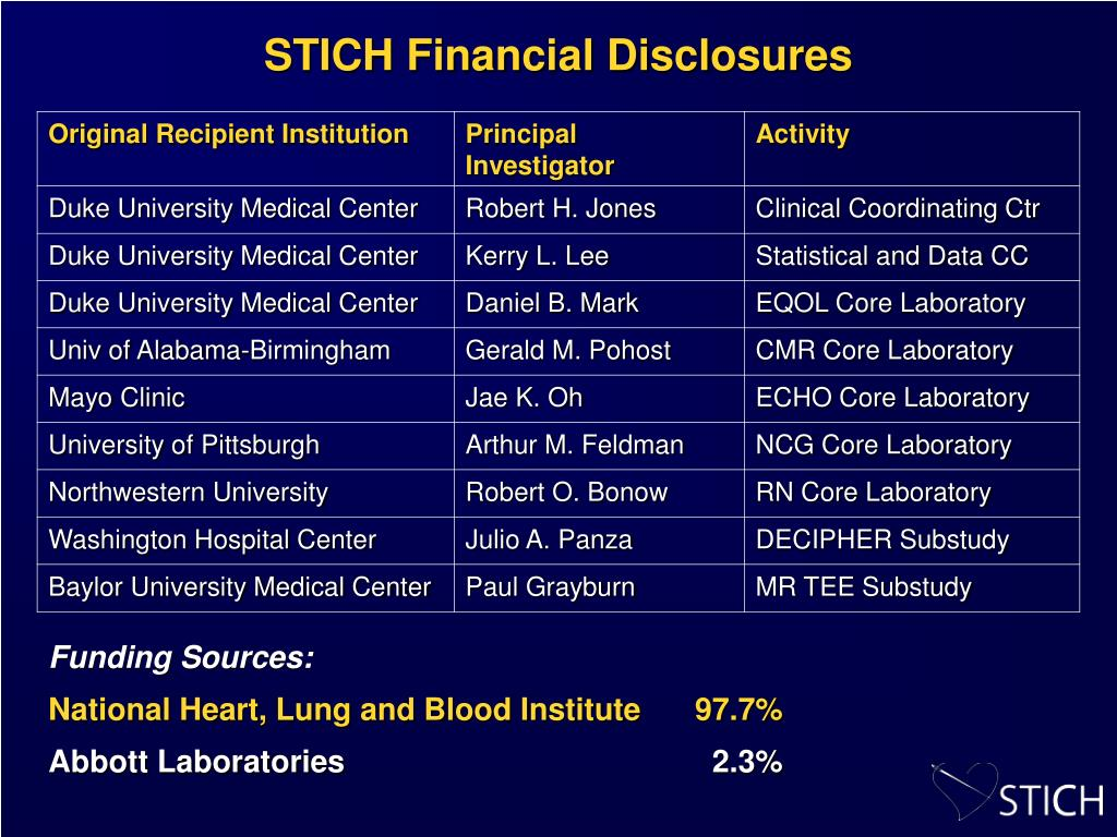 STICH Financial Disclosures