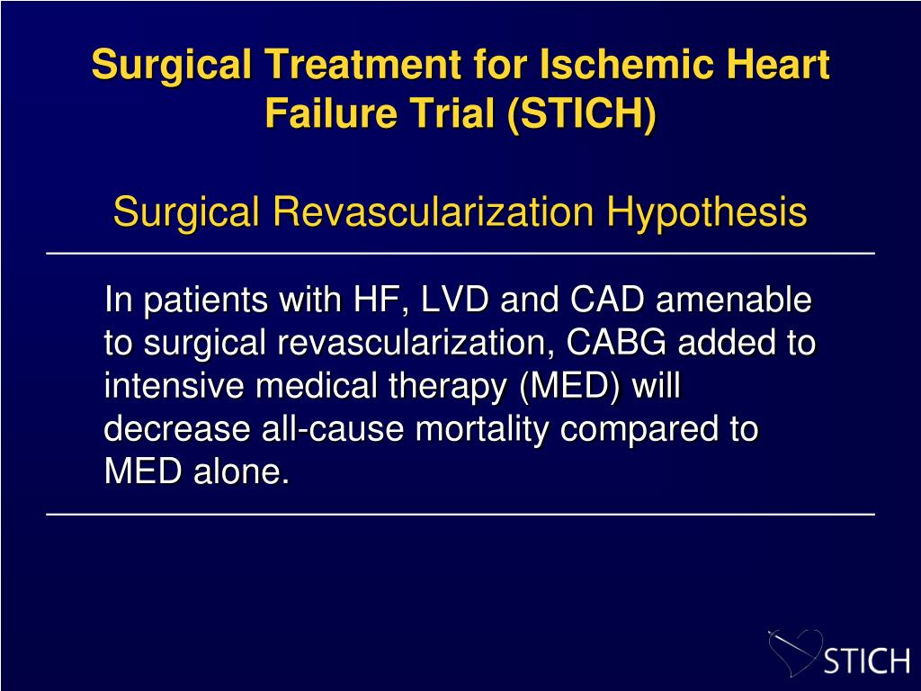 Surgical Treatment for Ischemic Heart Failure Trial (STICH)