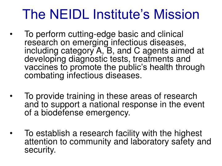 The NEIDL Institute's Mission