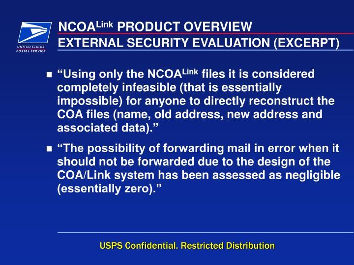EXTERNAL SECURITY EVALUATION (EXCERPT)