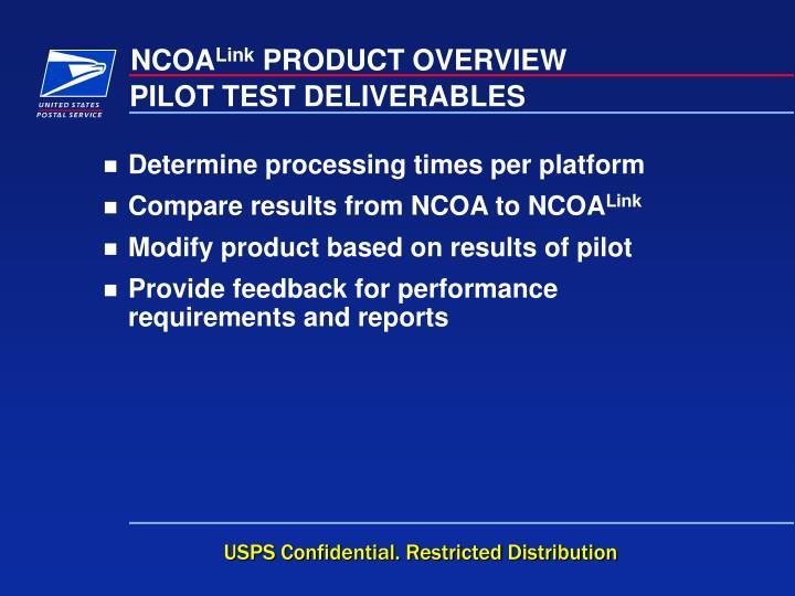 PILOT TEST DELIVERABLES