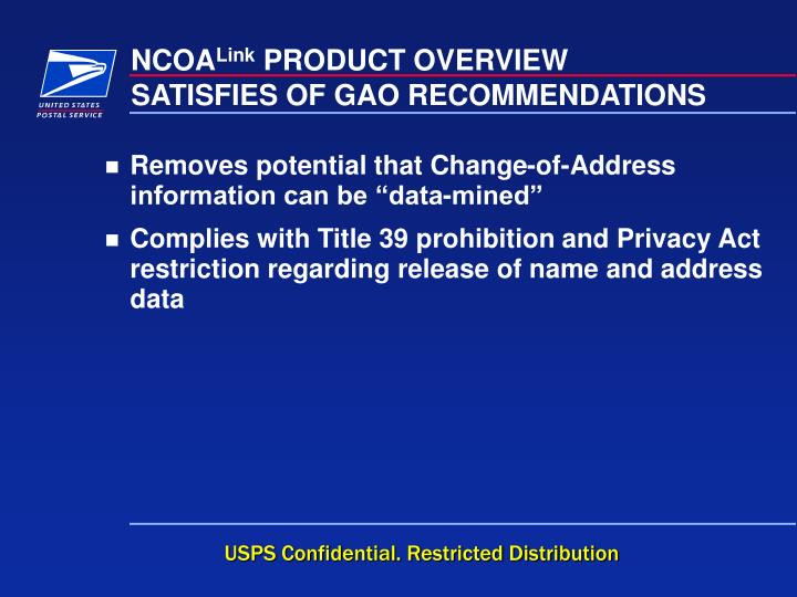 SATISFIES OF GAO RECOMMENDATIONS