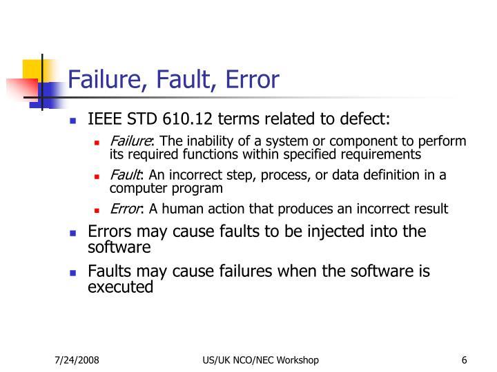 Failure, Fault, Error