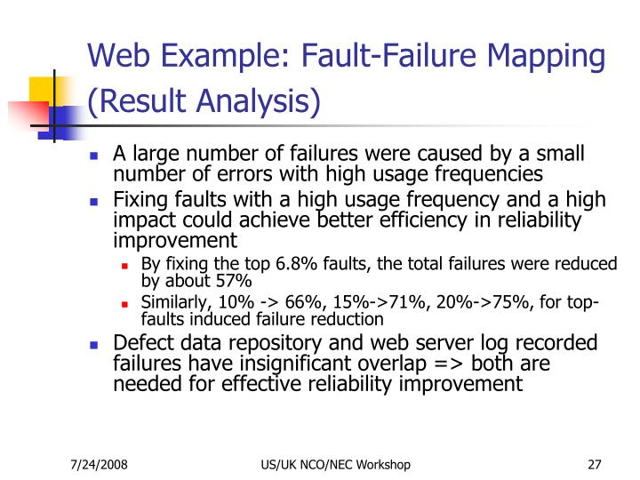 Web Example: Fault-Failure Mapping (Result Analysis)