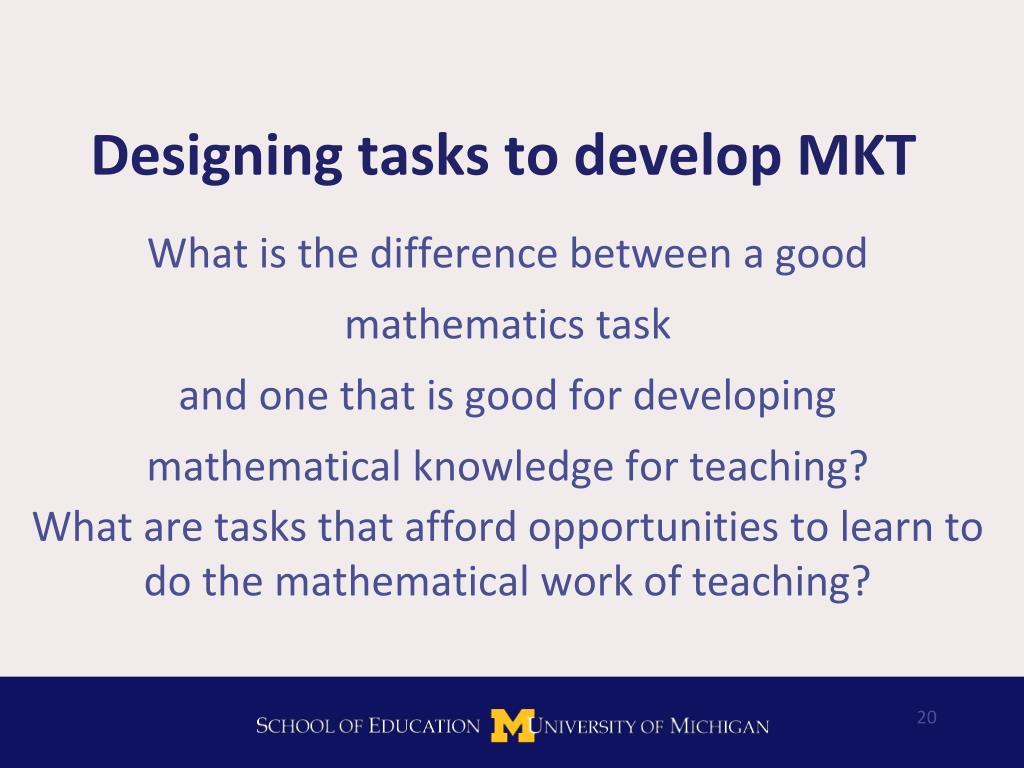 Designing tasks to develop MKT