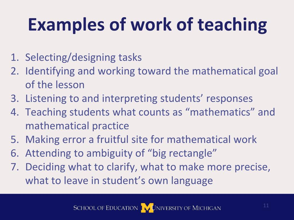Examples of work of teaching