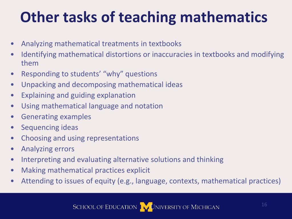 Other tasks of teaching mathematics