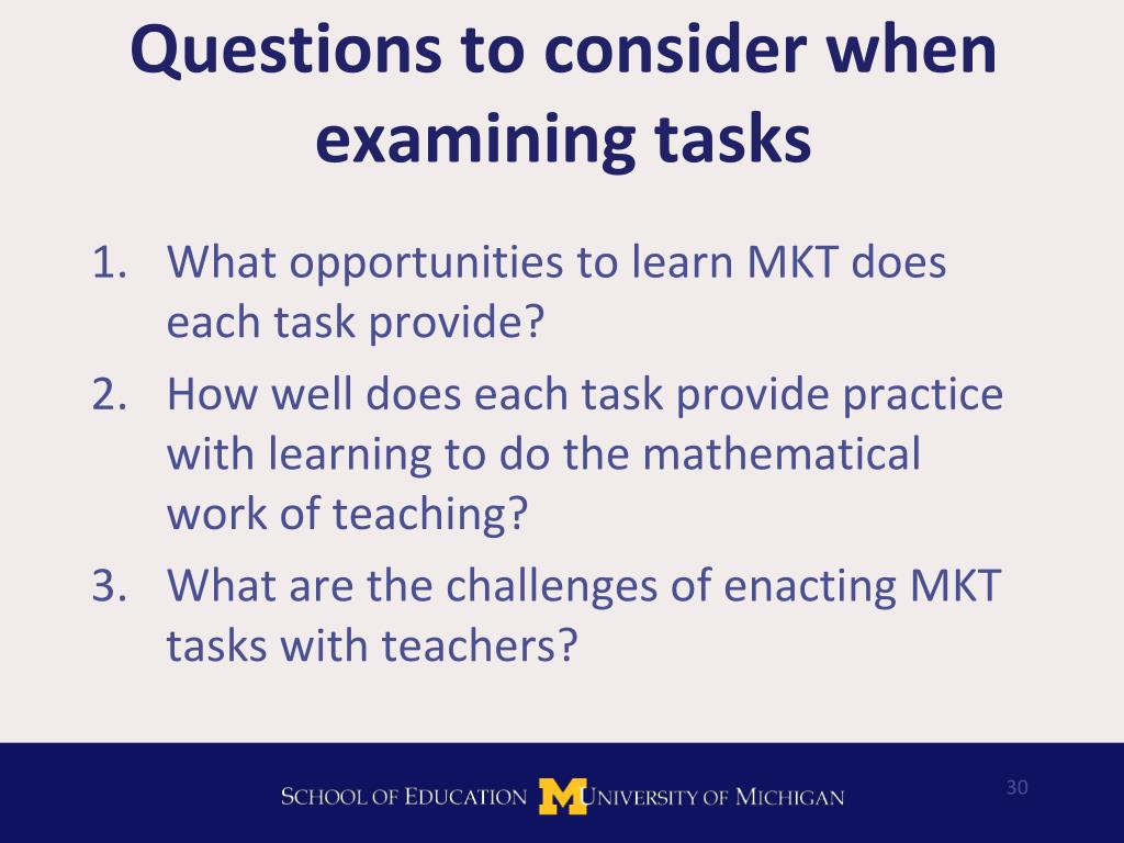 Questions to consider when examining tasks