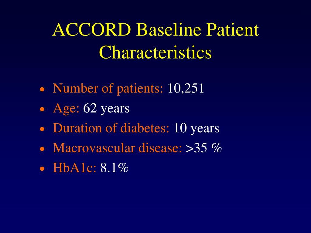ACCORD Baseline Patient Characteristics