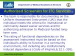 authorized screeners for ltc services