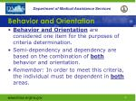 behavior and orientation