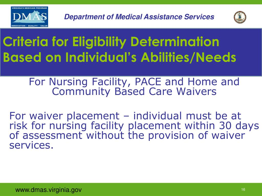 Criteria for Eligibility Determination Based on Individual's Abilities/Needs