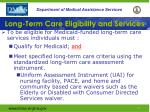 long term care eligibility and services