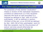 pre adm ission screening process