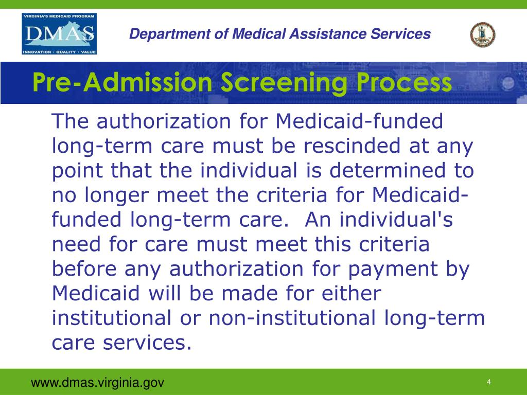 Pre-Admission Screening Process