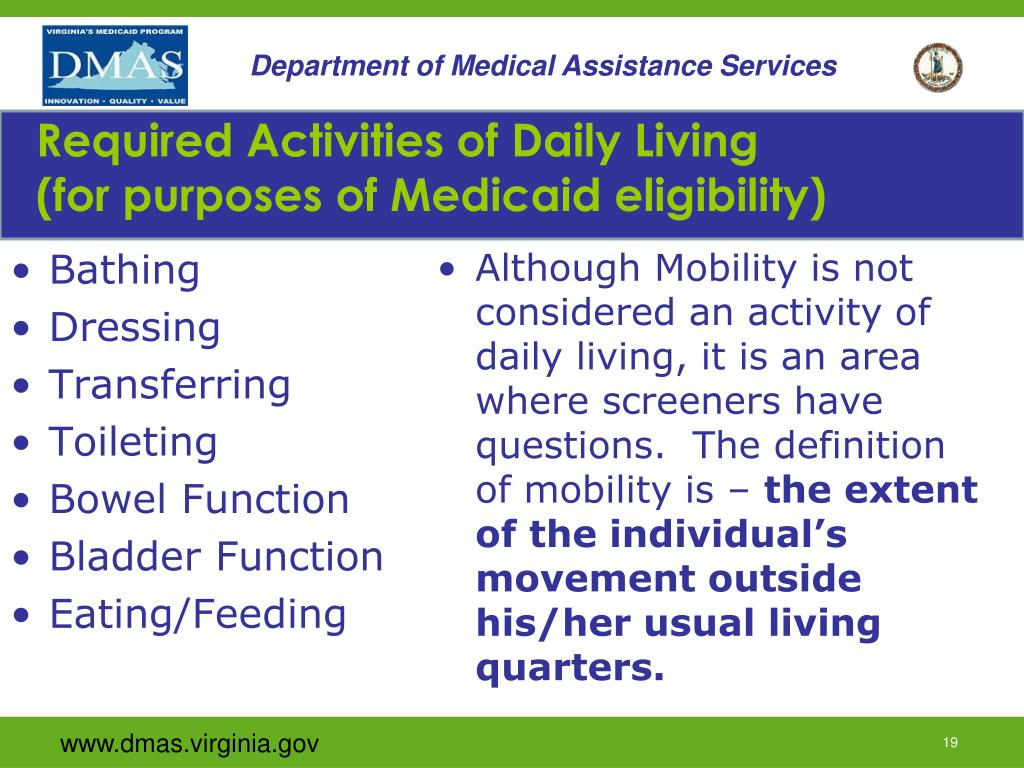 Required Activities of Daily Living