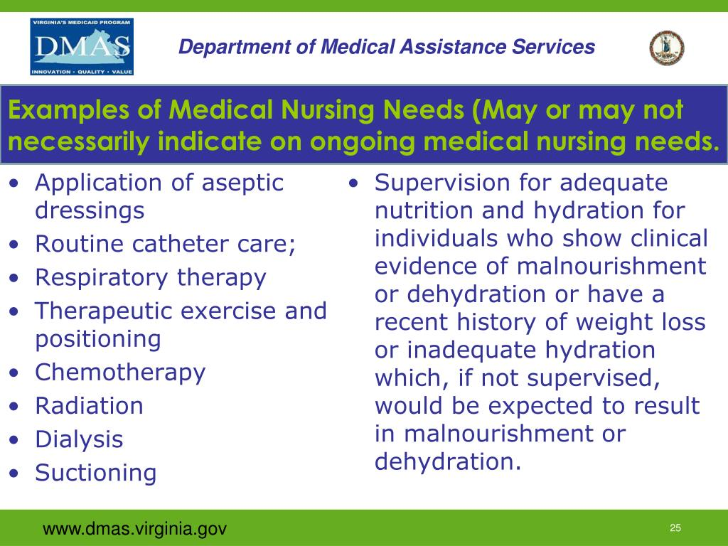 Examples of Medical Nursing Needs (May or may not necessarily indicate on ongoing medical nursing needs.