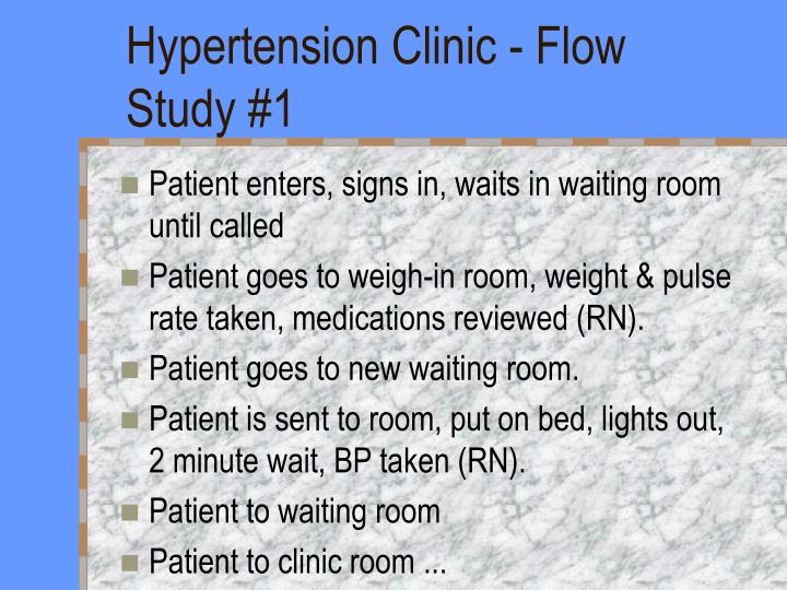 Hypertension Clinic - Flow Study #1