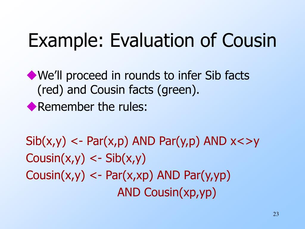 Example: Evaluation of Cousin