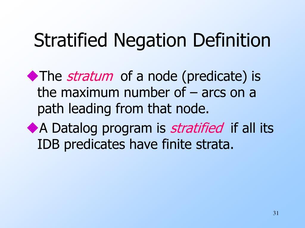 Stratified Negation Definition