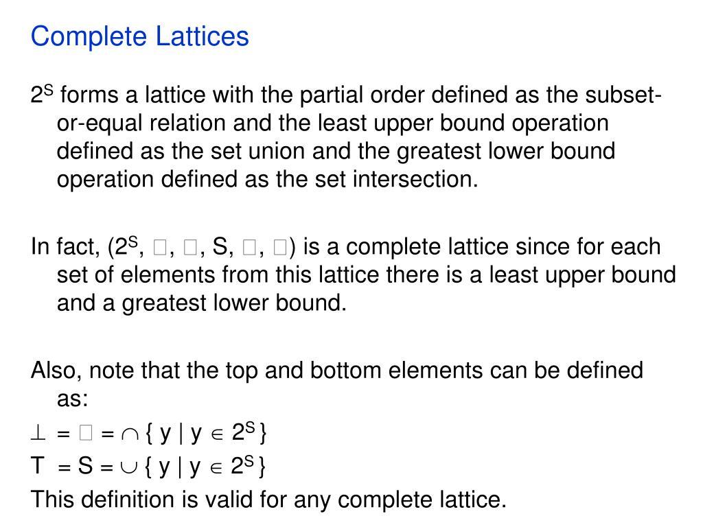 Complete Lattices