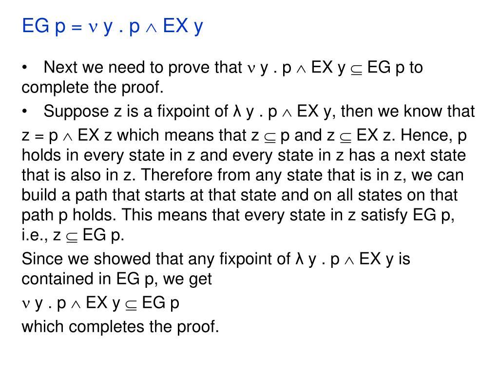 EG p =  y . p  EX y