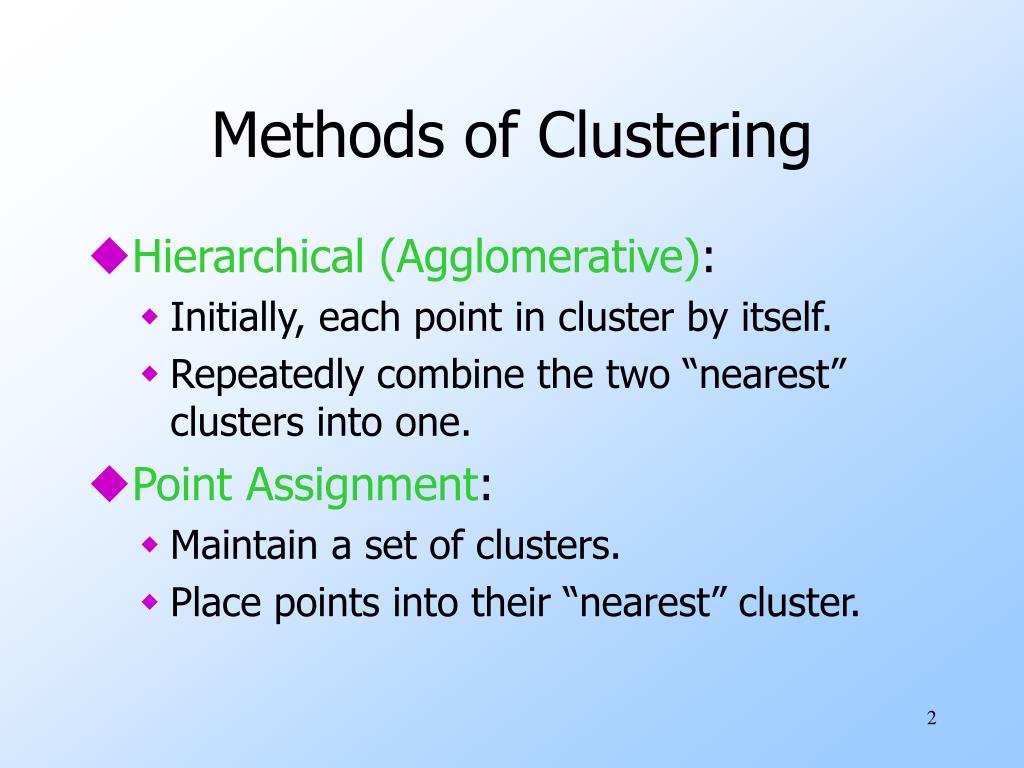 Methods of Clustering