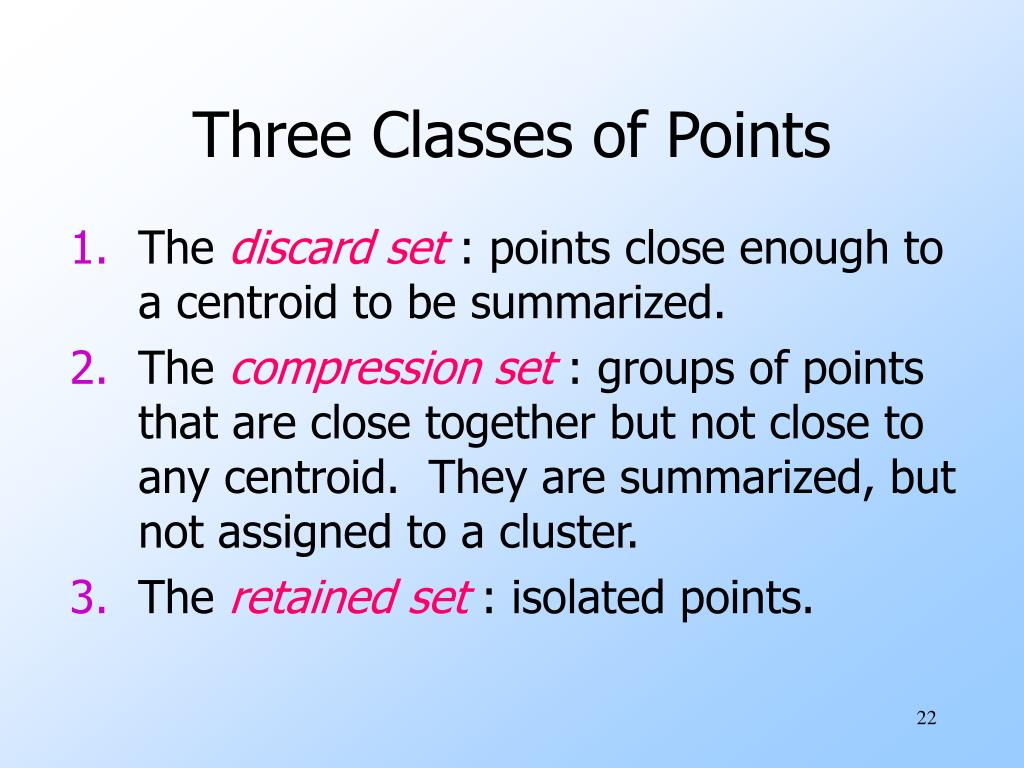 Three Classes of Points