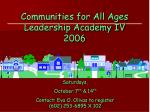 communities for all ages leadership academy iv 2006
