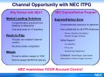 channel opportunity with nec itpg
