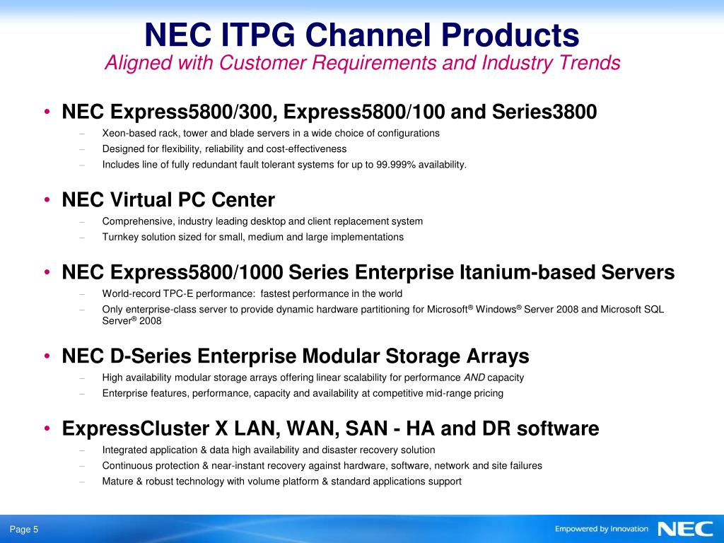 NEC ITPG Channel Products