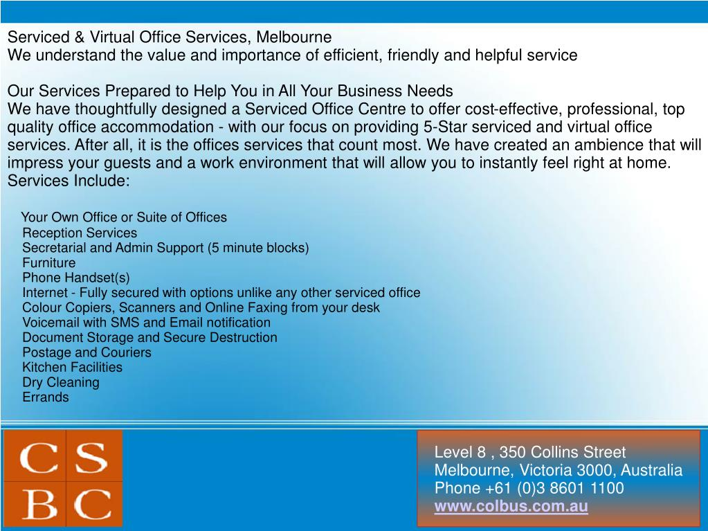 Serviced & Virtual Office Services, Melbourne
