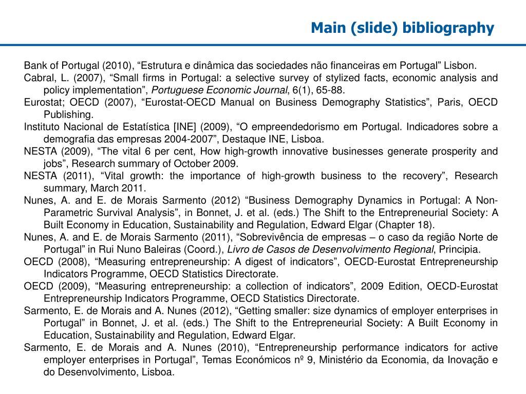 Main (slide) bibliography