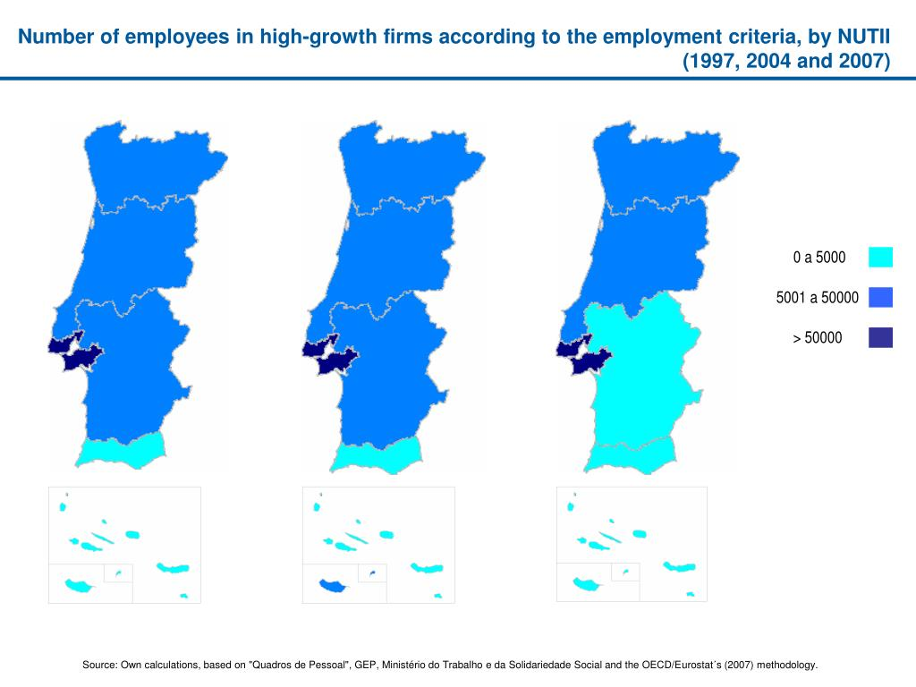 Number of employees in high-growth firms according to the employment criteria, by NUTII (1997, 2004 and 2007)