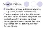 personal contacts