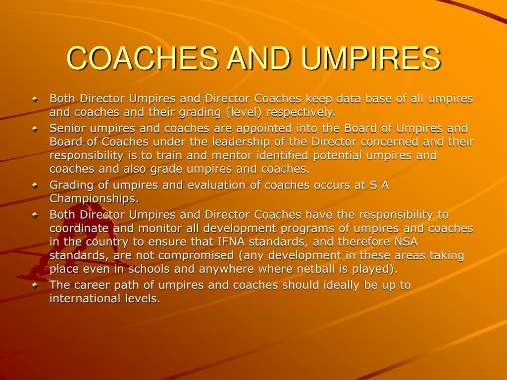 COACHES AND UMPIRES