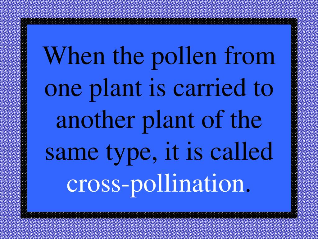 When the pollen from one plant is carried to another plant of the same type, it is called