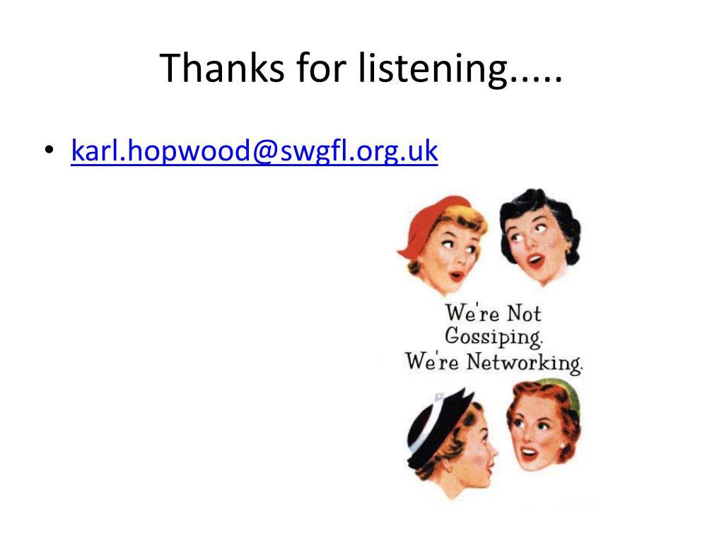 Thanks for listening.....