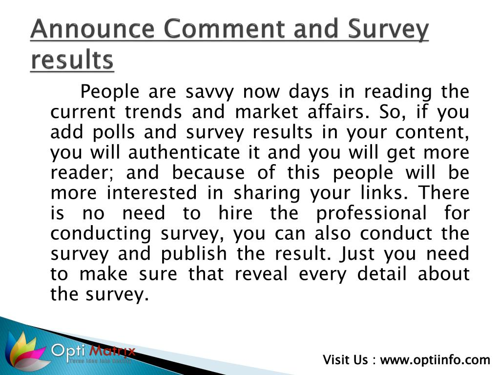 Announce Comment and Survey results