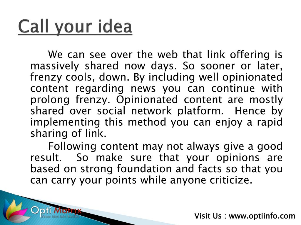 Call your idea