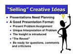 selling creative ideas