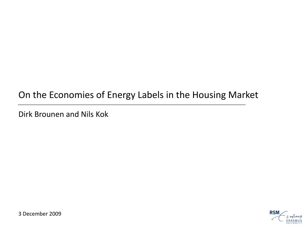 On the Economies of Energy Labels in the Housing Market