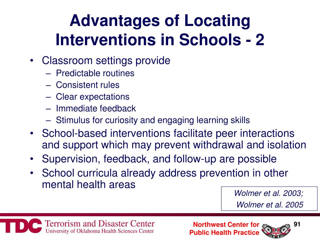 Advantages of Locating Interventions in Schools - 2