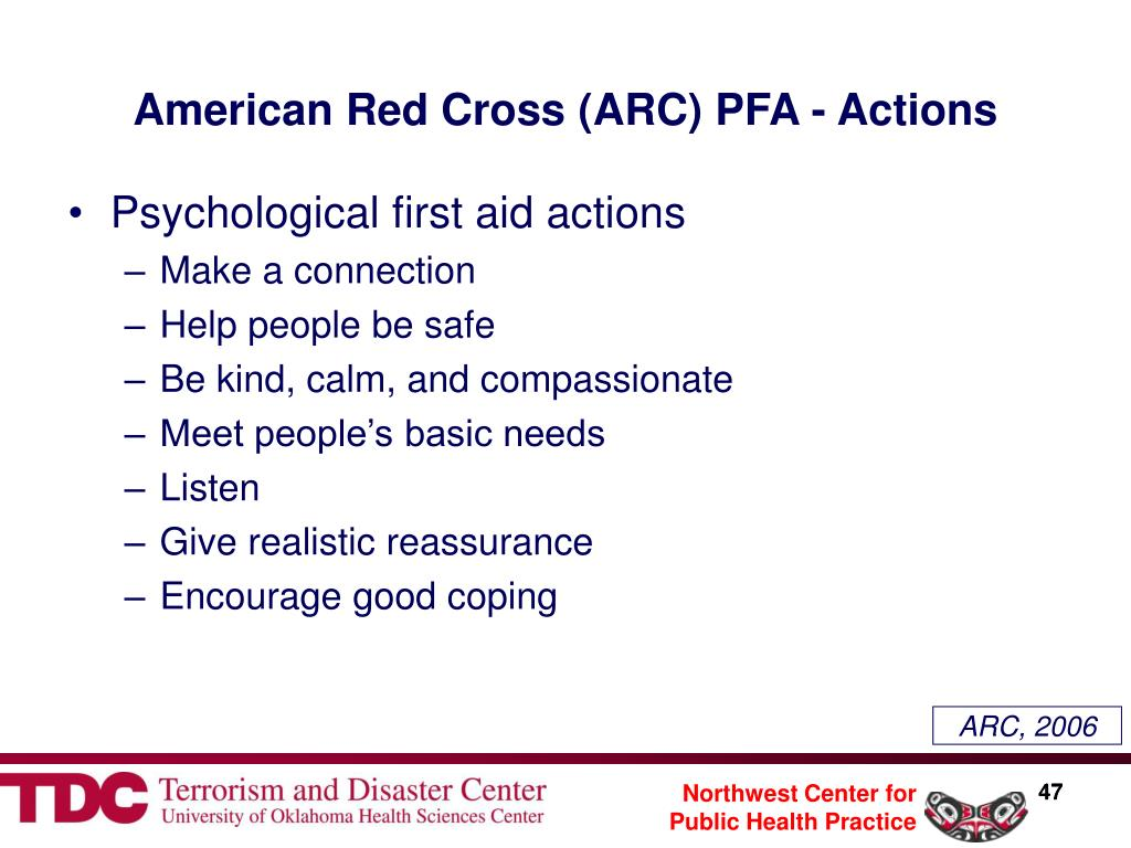 American Red Cross (ARC) PFA - Actions