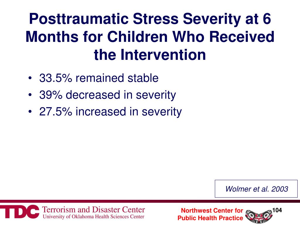 Posttraumatic Stress Severity at 6 Months for Children Who Received the Intervention