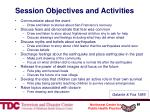 session objectives and activities
