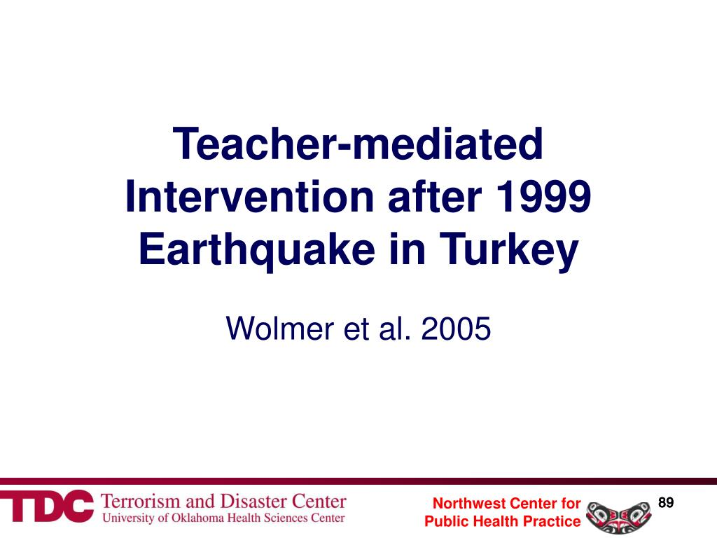 Teacher-mediated Intervention after 1999 Earthquake in Turkey
